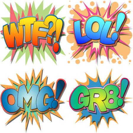 Een selectie van Comic Book Afkortingen en Acroniem Illustraties, WTF, LOL, OMG, GR8, hardop lachen, Oh My God, Groot- Stock Illustratie