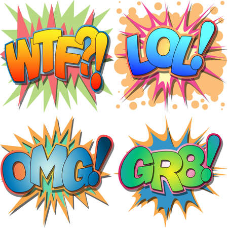 A Selection of Comic Book Abbreviations and Acronym Illustrations, WTF, LOL, OMG, GR8, Laugh Out Loud, Oh My God, Great