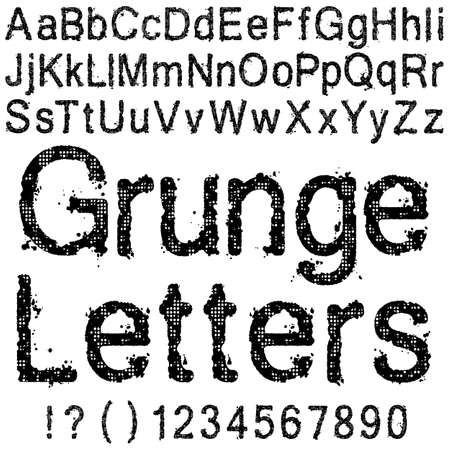 A Set of Grunge Letters and Numbers Stock Vector - 13528667