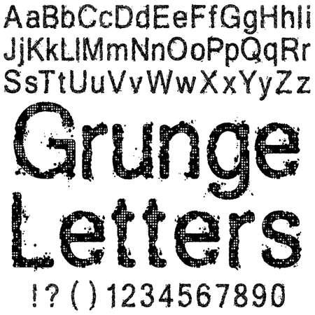 Een Set van Grunge Letters en cijfers Stock Illustratie