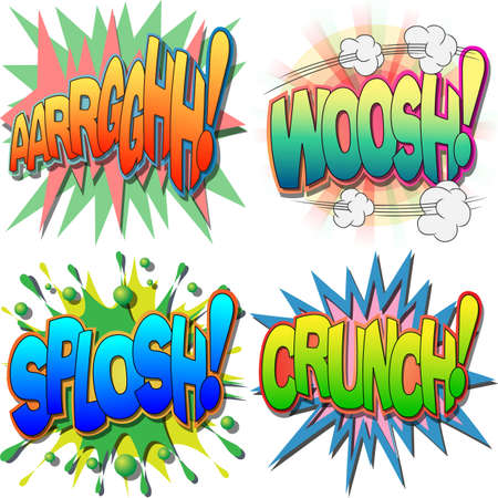 A Selection of Comic Book Exclamations and Action Words, Argh, Woosh, Splosh, Crunch Stock Vector - 13739040