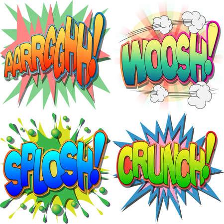 Een selectie van Comic Book Uitroepingen en Action Woorden, Argh, Woosh, Splosh, Crunch Stock Illustratie