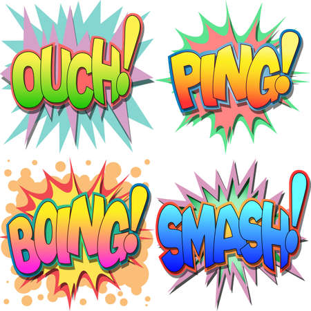 A Selection of Comic Book Exclamations and Action Words, Ouch, Ping, Boing, Smash Stock Vector - 13739039