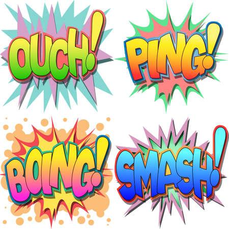 Een selectie van Comic Book Uitroepingen en Action Woorden, Au, Ping, Boing, Smash