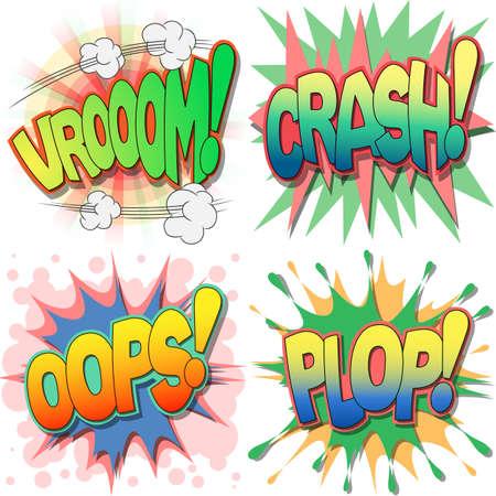 Een selectie van Comic Book Uitroepingen en Action Woorden, Vroom, Crash, Oops, Plop Stock Illustratie
