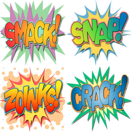 A Selection of Comic Book Exclamations and Action Words, Smack, Snap, Zoinks, Crack