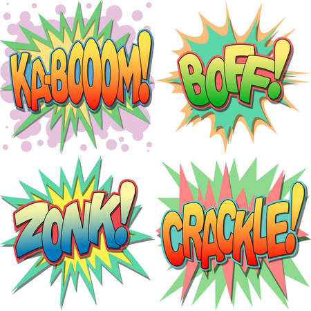 A Selection of Comic Book Exclamations and Action Words, Kaboom, Boff, Zonk, Crackle  Vector