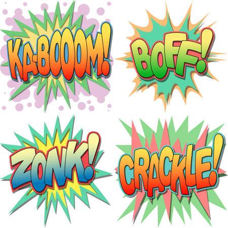 craquelure: Une s�lection de Crie Comic Book et mots d'action, Kaboom, Boff, Zonk, les Crackle