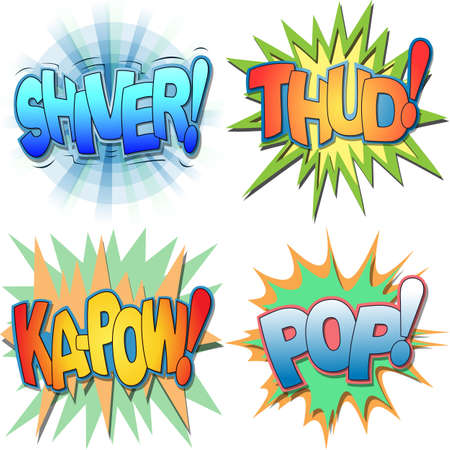 A Selection of Comic Book Exclamations and Action Words, Shiver, Thud, Ka-pow, Pop  Ilustração