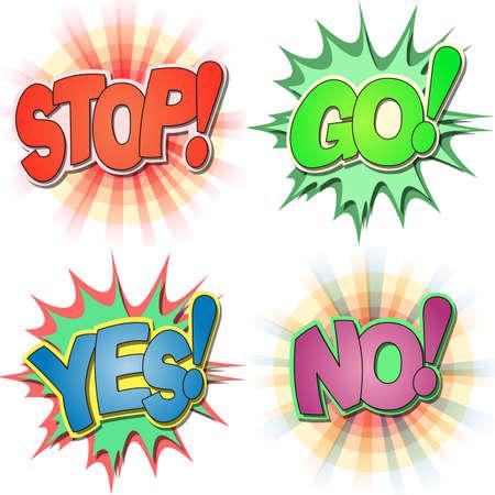 действие: Выбор Comic Возгласы книги и слова действия, останавливаться, идти, Да, Нет