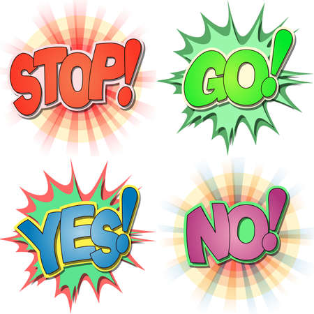 A Selection of Comic Book Exclamations and Action Words, Stop, Go, Yes, No  Ilustração