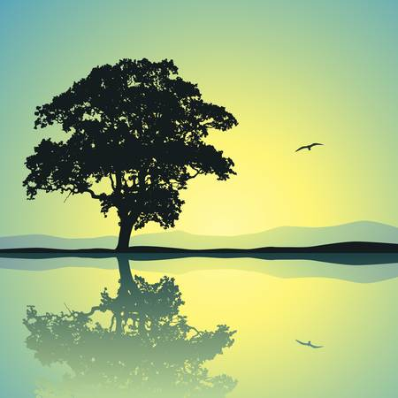 A Single Tree Standing Alone with Reflection in Water Illustration