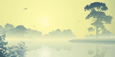 A Misty River Landscape with Sunrise, Sunset Stock Vector - 14559898
