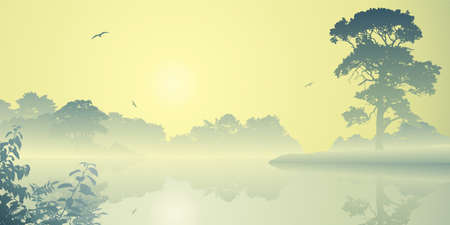A Misty River Landscape with Sunrise, Sunset Vector