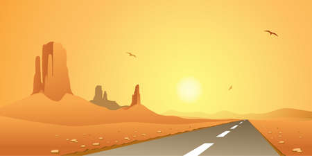 A Desert Landscape with Road, Highway Vector