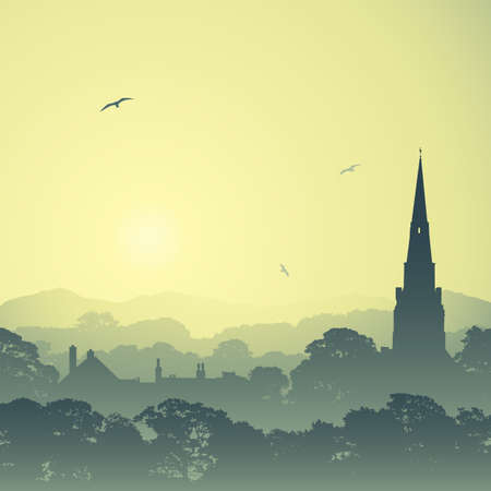 A Country Landscape with Church Spire and Trees Vector