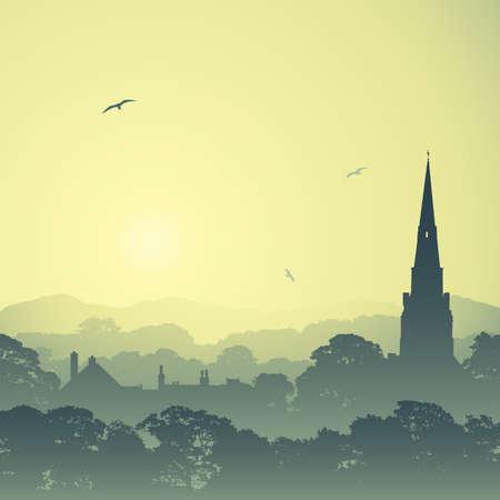 misty forest: Un paisaje campestre con la torre de la iglesia y los �rboles