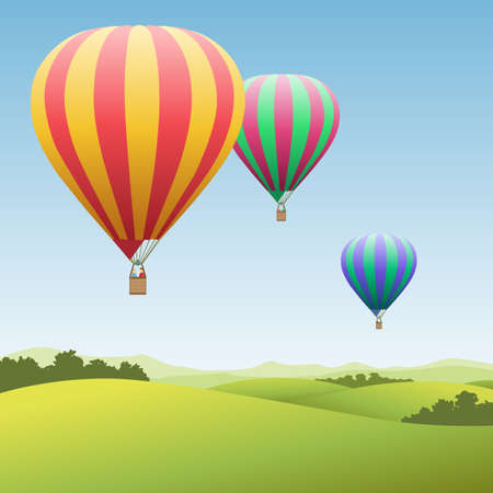 colored balloons: Three Colorful Hot Air Balloons