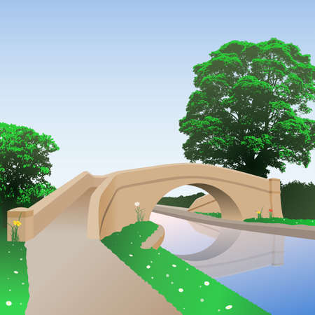 A British Canal Bridge with Towpath Vector