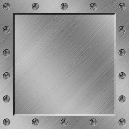 Een Metalen Achtergrond met Grens van schroeven Stockfoto