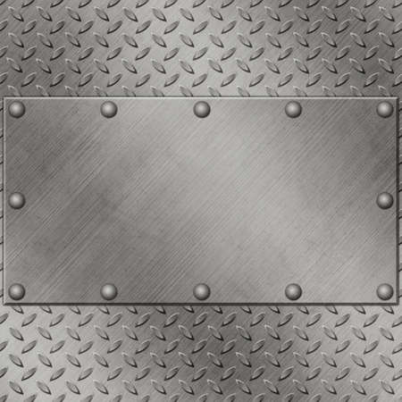 A Metal Background with Tread Plate and Rivets Stock Photo - 14951674