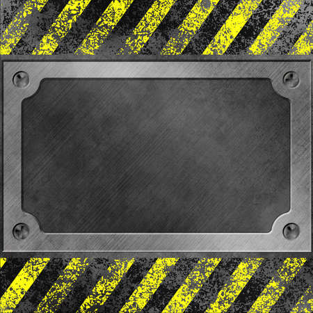 A Grunge Metal Background with Name Plate, Plaque photo
