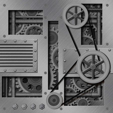 pulleys: Un Fondo Mec�nica Industrial con Engranajes y poleas Foto de archivo