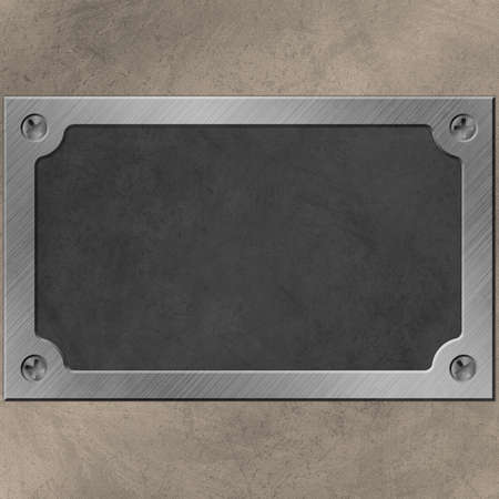 A Name Plate or Plaque on Wall with Screws