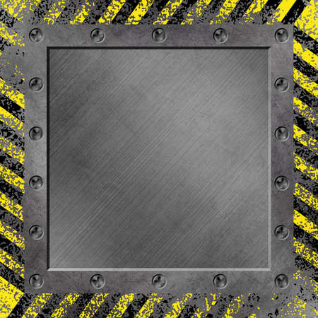 A Grunge Metal Background with Black and Yellow Stripes photo