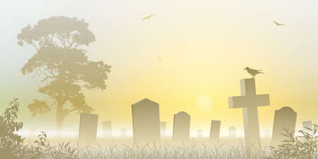 A Misty Graveyard, Cemetery with Tombstones and Tree Vector