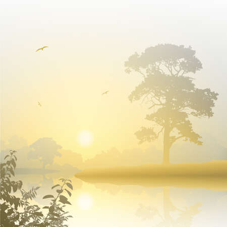 A Misty River Landscape with Sunrise, Sunset Stock Vector - 14951679