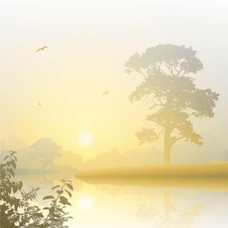 A Misty River Landscape with Sunrise, Sunset Vector