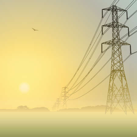 Electrical Power Lines and Pylons with Misty Sunrise, Sunset Vector
