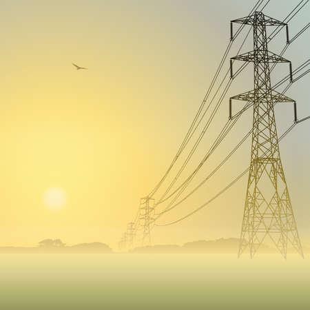 paesaggio industriale: Linee elettriche e tralicci con Misty Sunrise, Sunset
