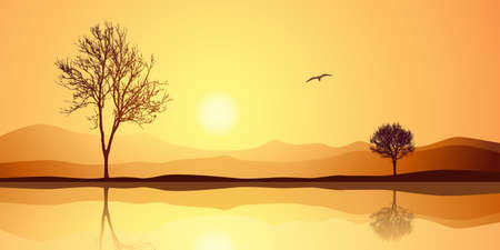 A Landscape with Two Trees and Reflection in Water Stock Vector - 14951673