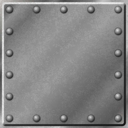 A Metal Plate Background with Rivets Vector