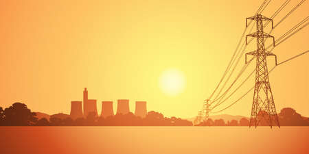 electricidad industrial: L�neas de energ�a el�ctrica y planta el�ctrica con las torres de refrigeraci�n Vectores