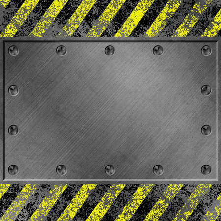 A Grunge Metal Background with Black and Yellow Stripes and Screws photo
