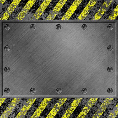 Een Grunge Metalen Achtergrond met zwarte en gele strepen en schroeven Stockfoto