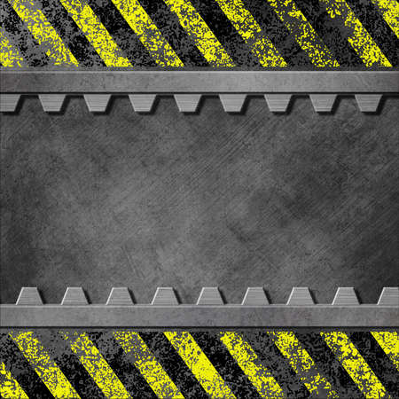 A Grunge Metal Background with Black and Yellow Stripes and Gear Teeth photo