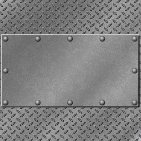 on metal: Un fondo de metal con placa de rodadura y Remaches