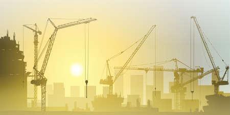 建設: 多くの建設現場にタワー クレーン