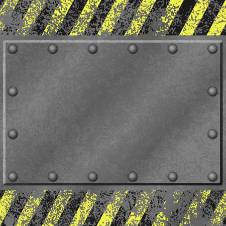 A Grunge Metal Background with Name Plate, Plaque and Rivets Vector