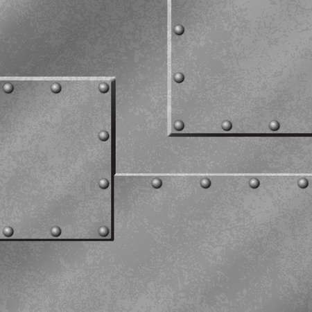 A Gray Metal Plate Background with Rivets Vector