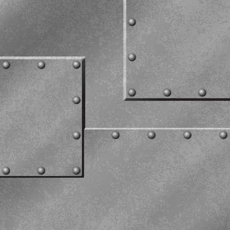 Een Grijze metalen plaat achtergrond met klinknagels