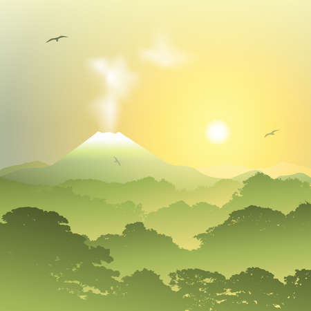 misty forest: A Misty Forest Landscape with Volcano and Sunset, Sunrise