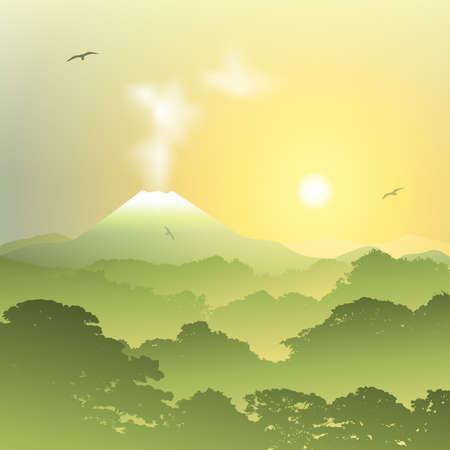 misty forest: Un paisaje del bosque brumoso con el volc�n y la puesta del sol, salida del sol