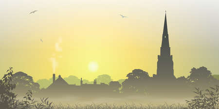 spire: A Misty Country Landscape with Church Spire and Trees