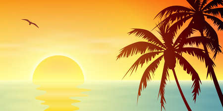 A Tropical Sunset, Sunrise with Palm Trees Çizim
