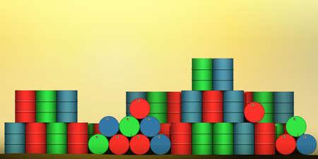 hazardous waste: Un mucchio di tamburi di petrolio, acciaio Barili